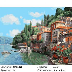 Зеленый городок у моря Раскраска картина по номерам на холсте GX26066