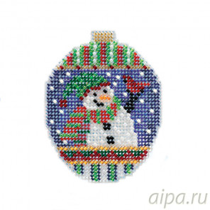 Привет от снеговика Набор для вышивания бисером с магнитом MILL HILL MH211811