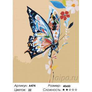 Бабочка в цветах Раскраска картина по номерам на холсте A474