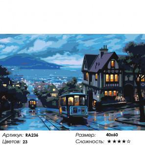 Количество цветов и сложность Вечерние трамвайчики Раскраска картина по номерам на холсте RA236