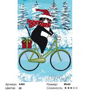 Кот на велосипеде зимой Раскраска картина по номерам на холсте A460