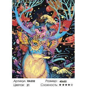 Олень в золотой маске Раскраска картина по номерам на холсте RA232