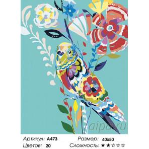 Количество цветов и сложность Попугай в цветах Раскраска картина по номерам на холсте A473