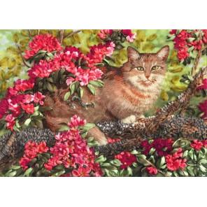 Кот в цветах Набор для вышивки лентами Каролинка КЛ(Н)-3024