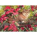 Кот в цветах Набор для вышивки лентами Каролинка