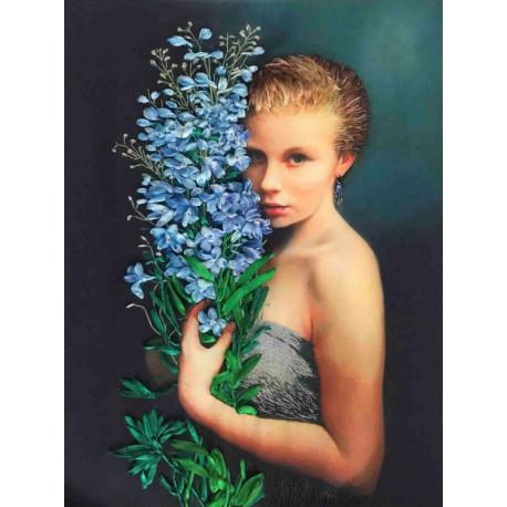 Девушка с васильками Набор для вышивки лентами Каролинка КЛ(Н)-3025