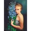 Девушка с васильками Набор для вышивки лентами Каролинка