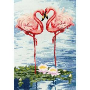 Свидание фламинго Набор для вышивания Золотое руно З-051