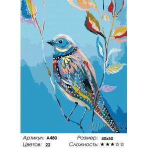 Количество цветов и сложность Весенняя птица Раскраска картина по номерам на холсте A480