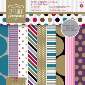 Spots & Stripes Jewels Набор бумаги 15x15 для скрапбукинга, кардмейкинга Docrafts