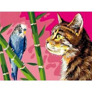 Кот и попугайчик Раскраска картина по номерам на холсте