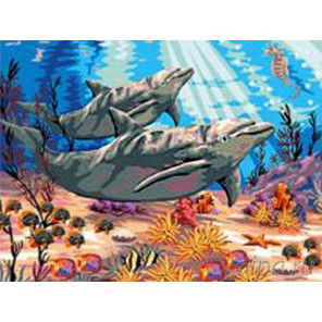 В подводном мире Раскраска картина по номерам на холсте