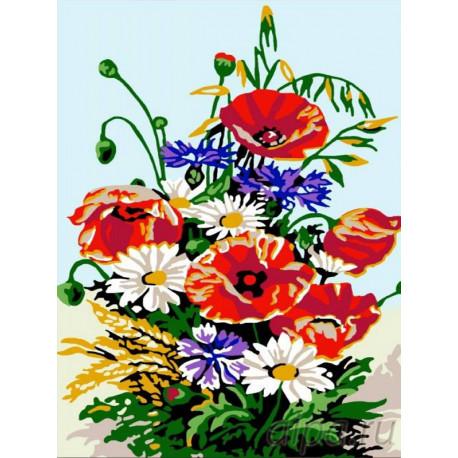 Букет с ромашками и маками Раскраска картина по номерам на холсте