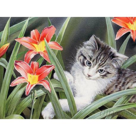 EX5905 Котенок в цветах Раскраска картина по номерам на ...