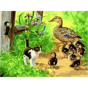 Котенок с уточками Раскраска картина по номерам на холсте