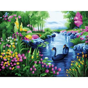 Цветущие берега Раскраска картина по номерам на холсте