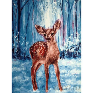 Олененок в зимнем лесу Раскраска картина по номерам на холсте