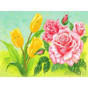 Тюльпан и роза Раскраска картина по номерам на холсте