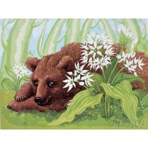 Медвежонок Раскраска картина по номерам на холсте