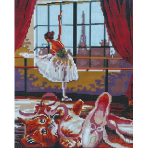 Балерина и котенок Алмазная мозаика вышивка на подрамнике Painting Diamond