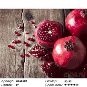 Количество цветов и сложность Зерна граната Раскраска картина по номерам на холсте GX28680