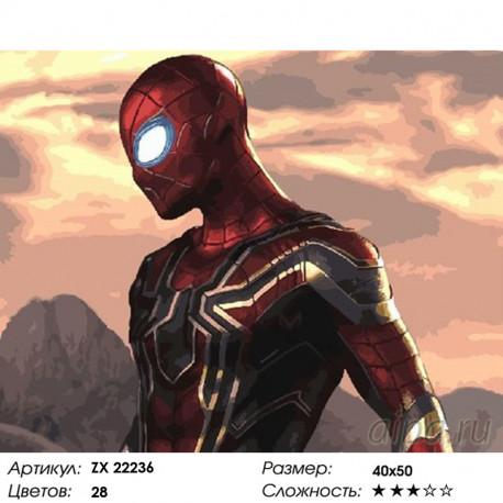 мстители человек паук раскраска картина по номерам на холсте Zx 22236