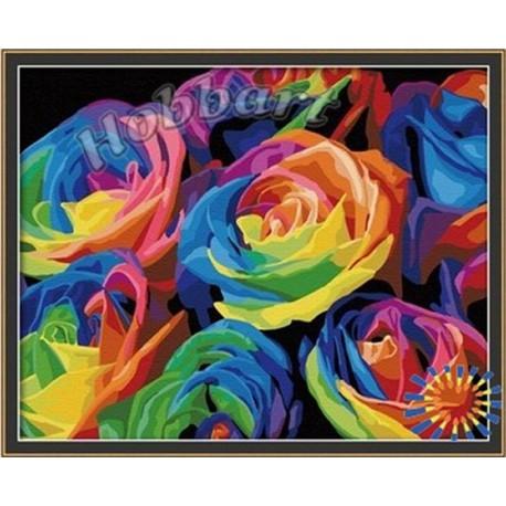Радуга роз Раскраска по номерам на холсте Hobbart ...