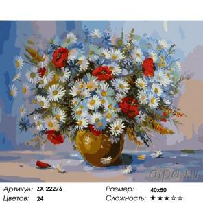 Количество цветов и сложность Полевые ромашки и маки Раскраска картина по номерам на холсте ZX 22276