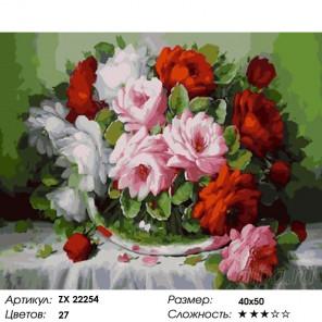 Количество цветов и сложность Букет цветов на белой скатерти Раскраска картина по номерам на холсте ZX 22254