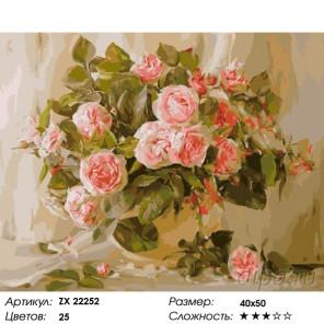 Количество цветов и сложность Композиция из роз Раскраска картина по номерам на холсте ZX 22252