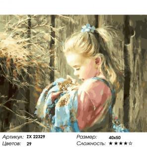 Количество цветов и сложность Колыбельная для котика Раскраска картина по номерам на холсте ZX 22329