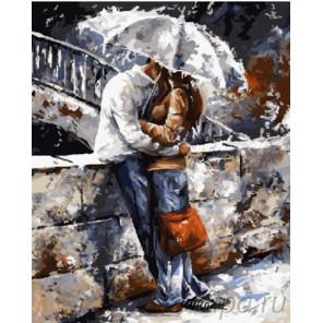Пара под дождем Раскраска картина по номерам на холсте ZX 22220