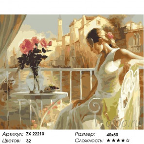 Количество цветов и сложность Леди на веранде Раскраска картина по номерам на холсте ZX 22210