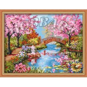 Японский сад в цвету Раскраска по номерам на холсте Hobbart
