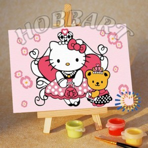 Hello Kitty. Китти-принцесса Раскраска по номерам акриловыми красками на холсте Menglei