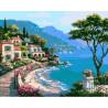 Берег Средиземного моря Раскраска картина по номерам на холсте ZX 22218