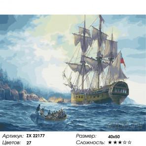 Количество цветов и сложность Британский корабль Раскраска картина по номерам на холсте ZX 22177