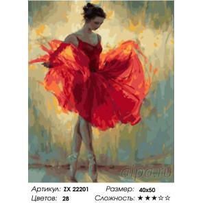 Количество цветов и сложность Балерина в красном платье Раскраска картина по номерам на холсте ZX 22201
