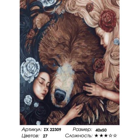 Количество цветов и сложность Медведь и девушки Раскраска картина по номерам на холсте ZX 22309