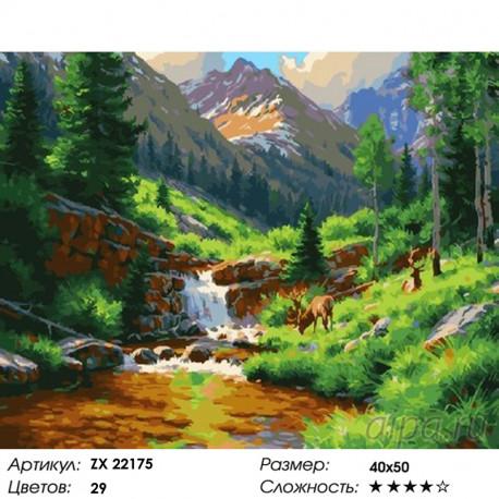 Количество цветов и сложность Водопад среди деревьев Раскраска картина по номерам на холсте ZX 22175