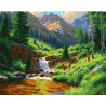 Водопад среди деревьев Раскраска картина по номерам на холсте ZX 22175