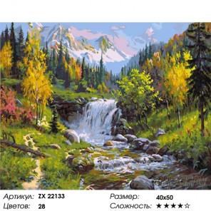 Количество цветов и сложность Водопад среди гор Раскраска картина по номерам на холсте ZX 22133