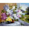 Цветочная композиция у окна Раскраска картина по номерам на холсте ZX 22115