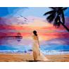Девушка на закате Раскраска картина по номерам на холсте ZX 21724