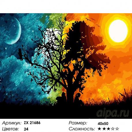 Количество цветов и сложность Равноденствие Раскраска картина по номерам на холсте ZX 21686