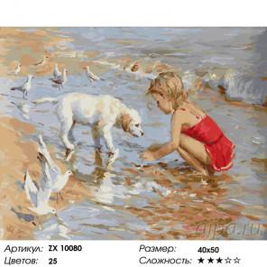Количество цветов и сложность Девочка с щенком Раскраска картина по номерам на холсте ZX 10080