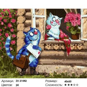 Кот-почтальон Раскраска картина по номерам на холсте ZX 21542