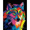 Разноцветный волк Раскраска картина по номерам на холсте ZX 21529