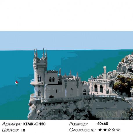 Количество цветов и сложность Крымский замок Раскраска по номерам на холсте Живопись по номерам KTMK-CH50