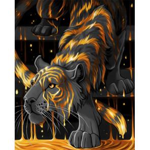 Тигр в золоте Алмазная вышивка мозаика АЖ-1746
